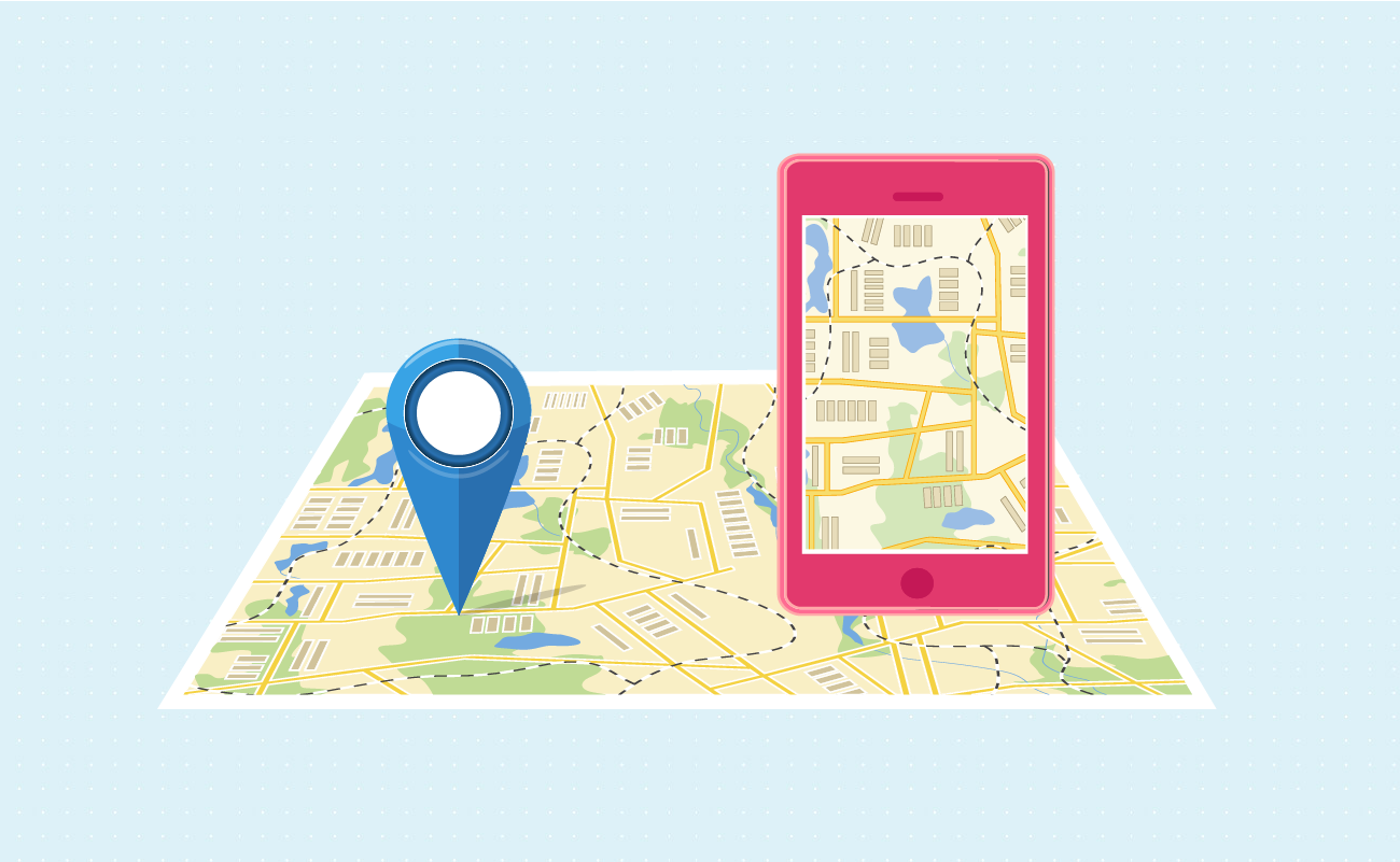 Mobile Navigation Application with Driving Directions Near a Map.
