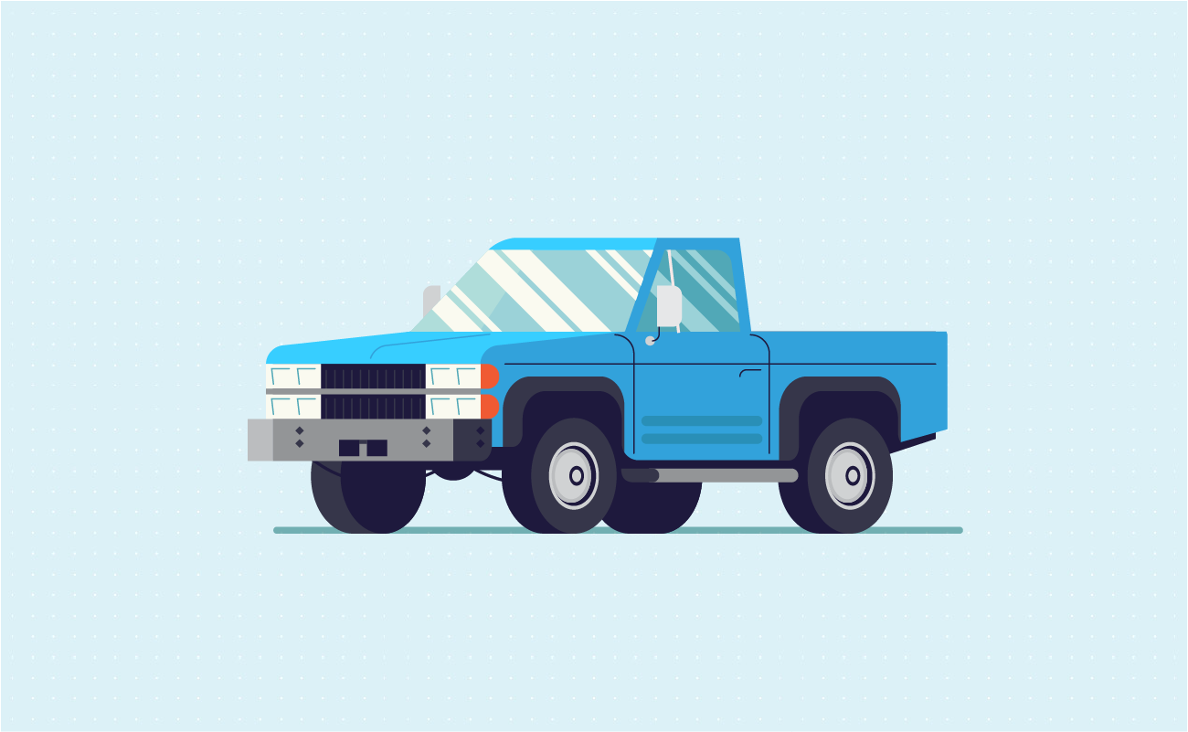 Blue compact and midsize truck