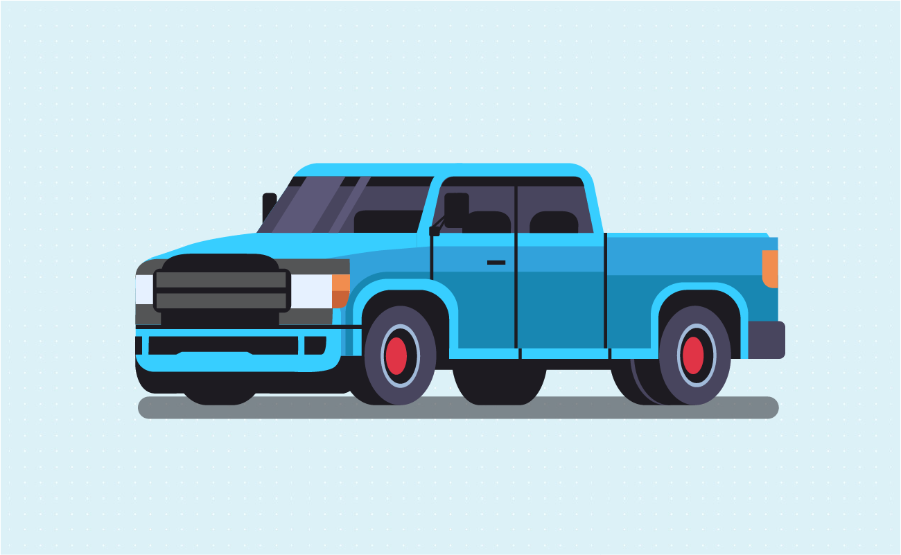 Blue heavy duty pickup truck