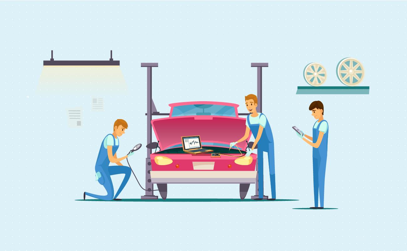 Car Mechanics Repairing a Car.
