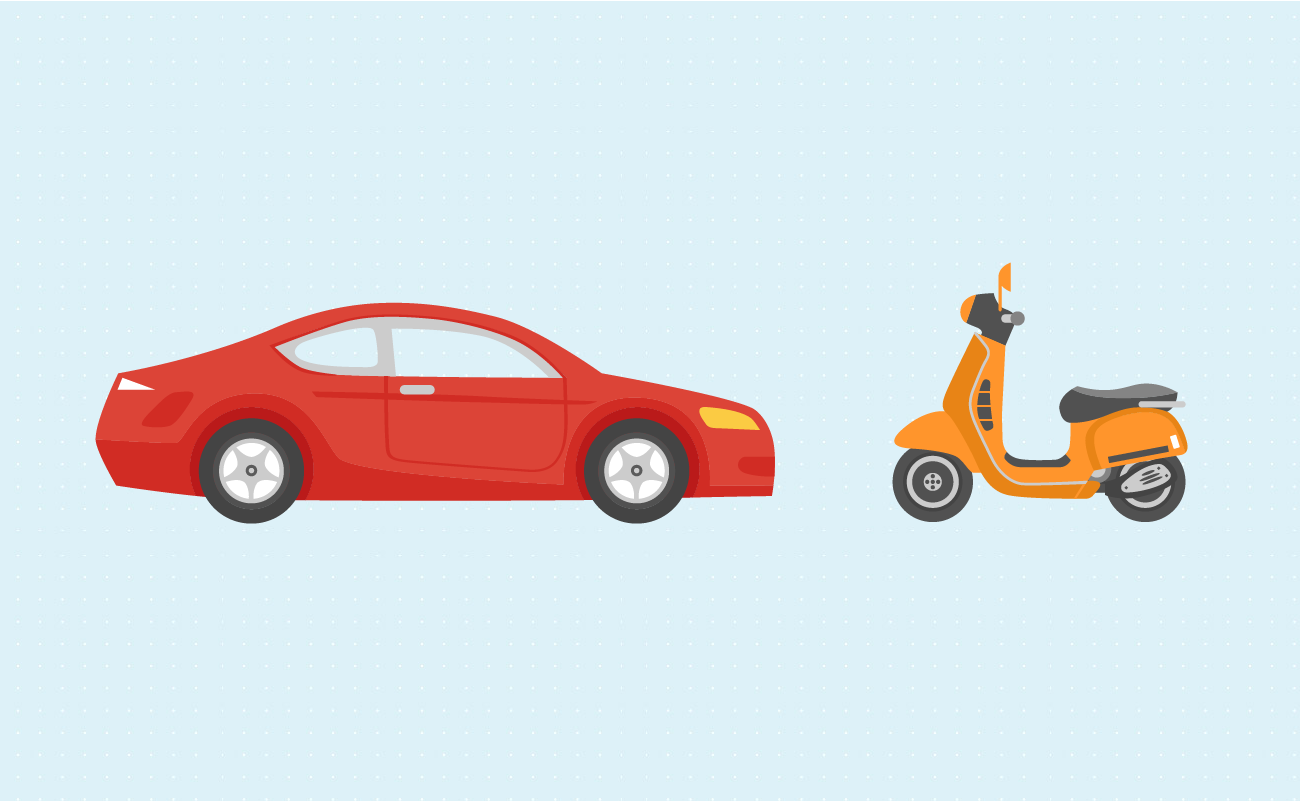 Illustration of a car near a motorcycle and a scooter.