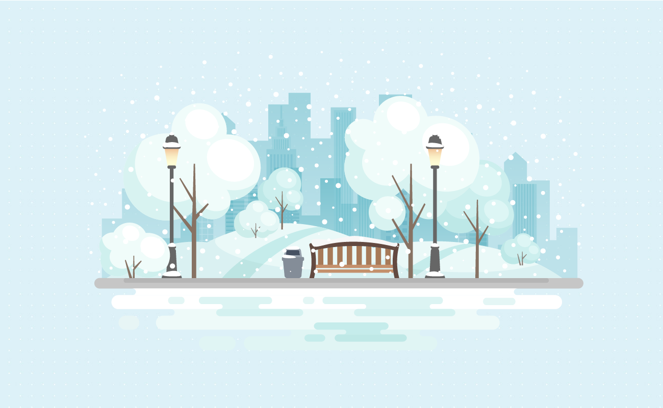 Illustration of a City Street in the Winter.