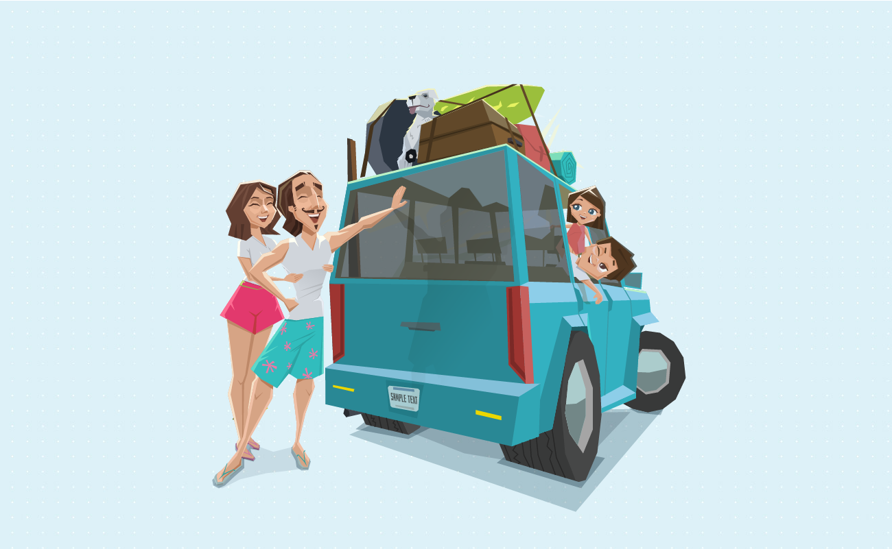 Family Excited to go on a Road Trip.