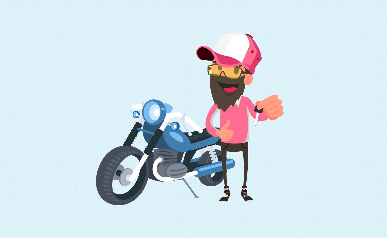Happy Biker holding Motorcycle Keys in Hand.