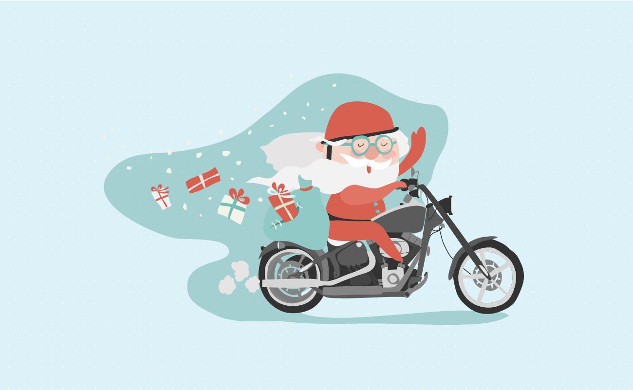 Drawing of Santa Claus Riding a Motorcycle.