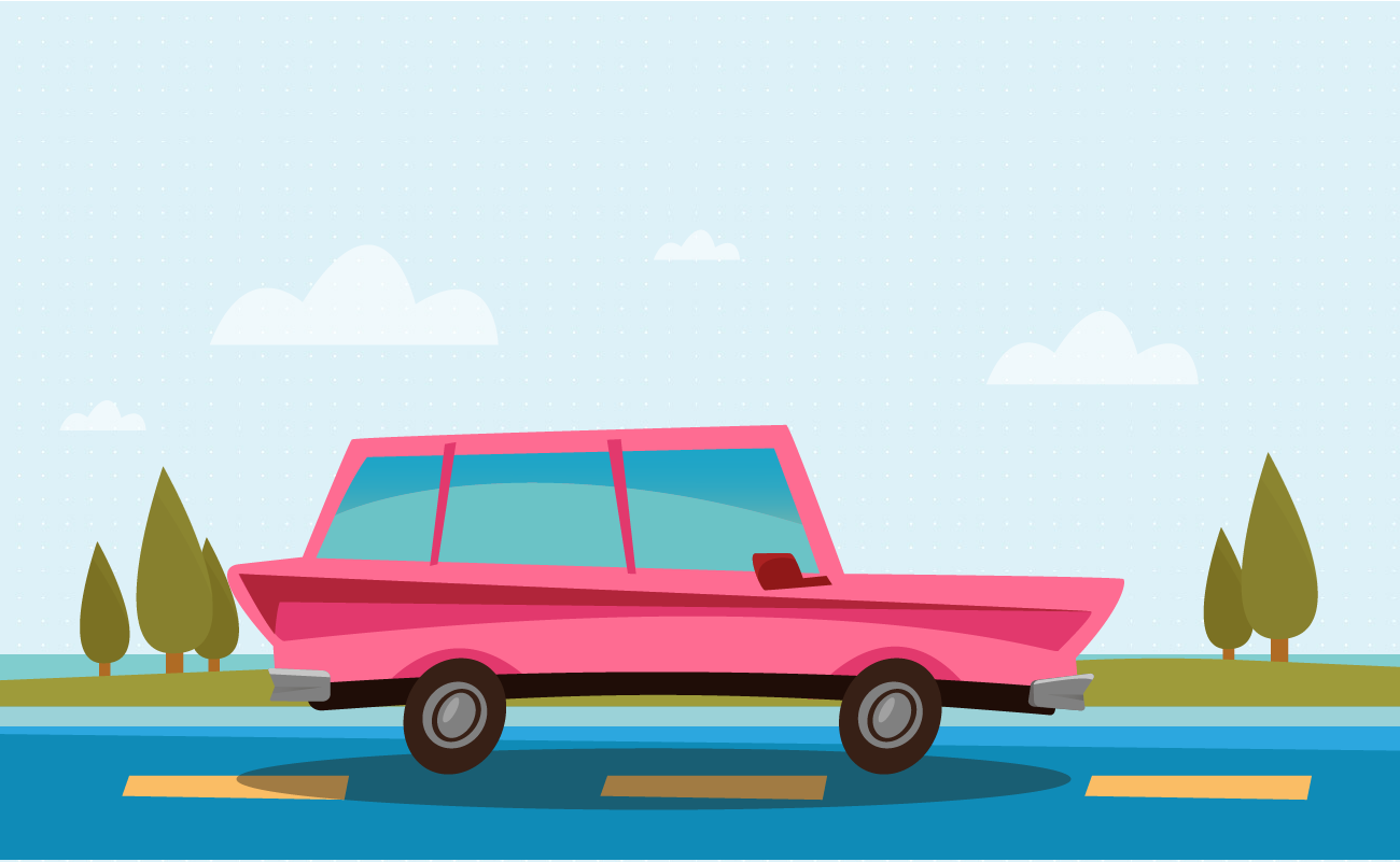 Illustration of a Pink Station Wagon Driving on a Highway.