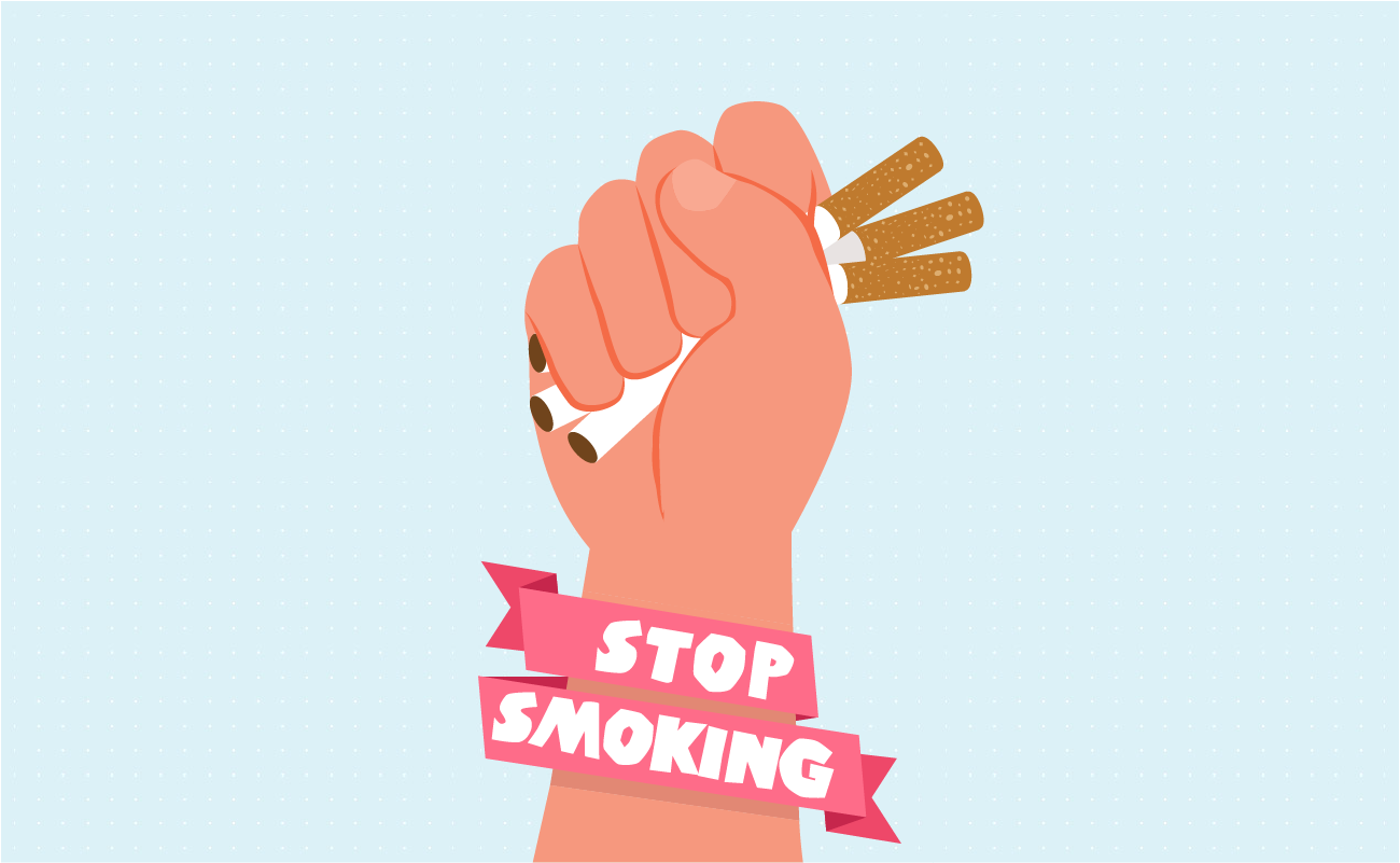 Stop smoking hand crushing cigarettes.