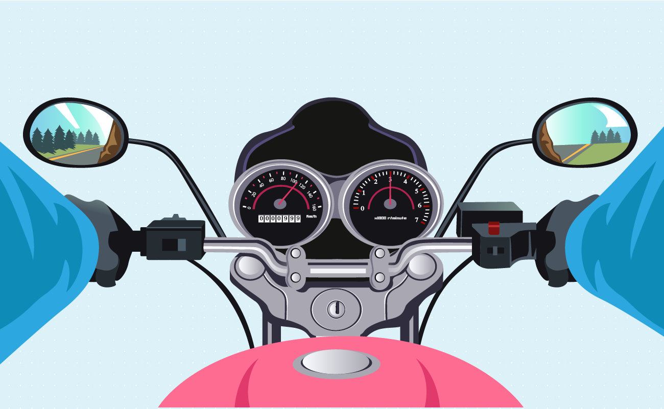 view of a motorcycle dashboard.